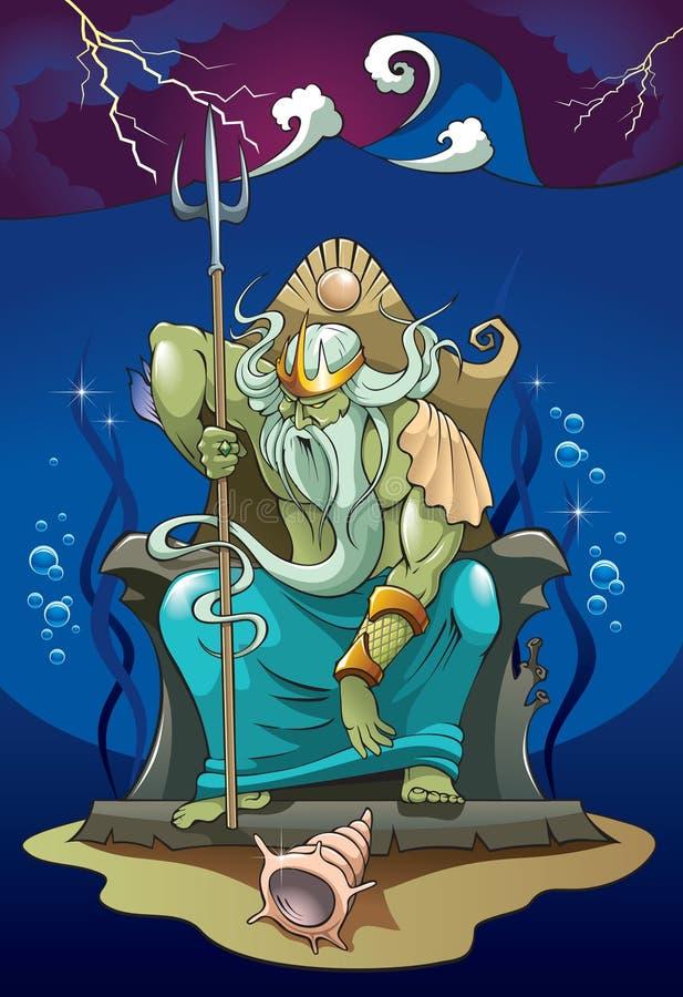 Poseidon, deus do mar ilustração do vetor