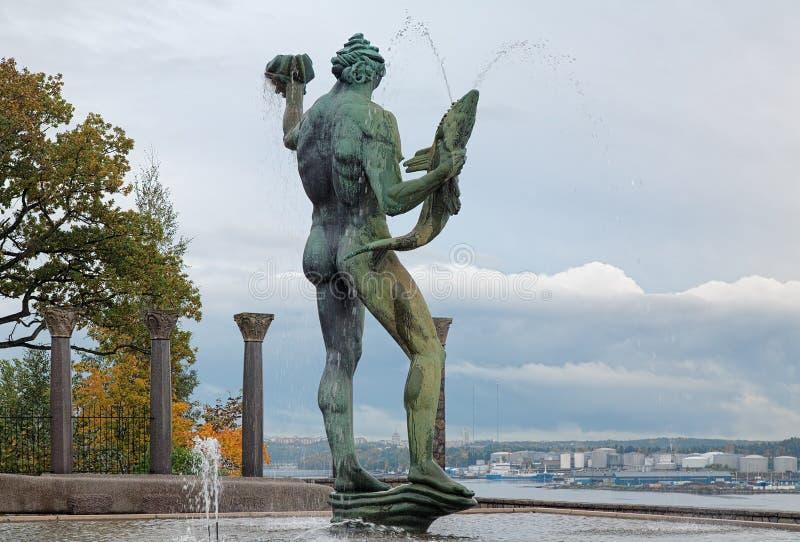 Poseidon Fountain in Millesgarden sculpture garden in Stockholm royalty free stock photo