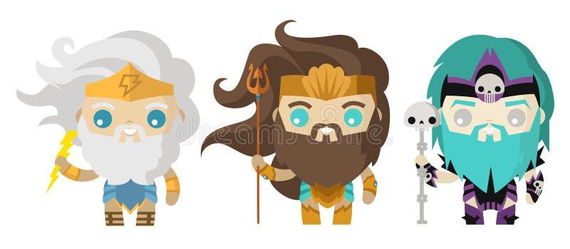 Poseidon Hades и боги Зевса милые крошечные стоковое изображение rf