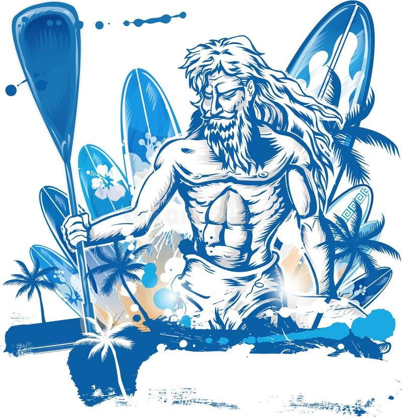 Poseidon kałuży surfingowiec ilustracja wektor