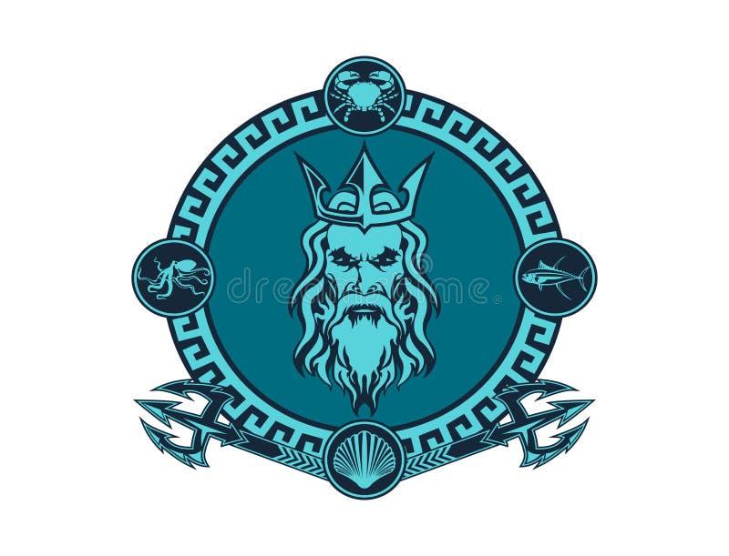 Poseidon Logo Emblem stock illustrationer