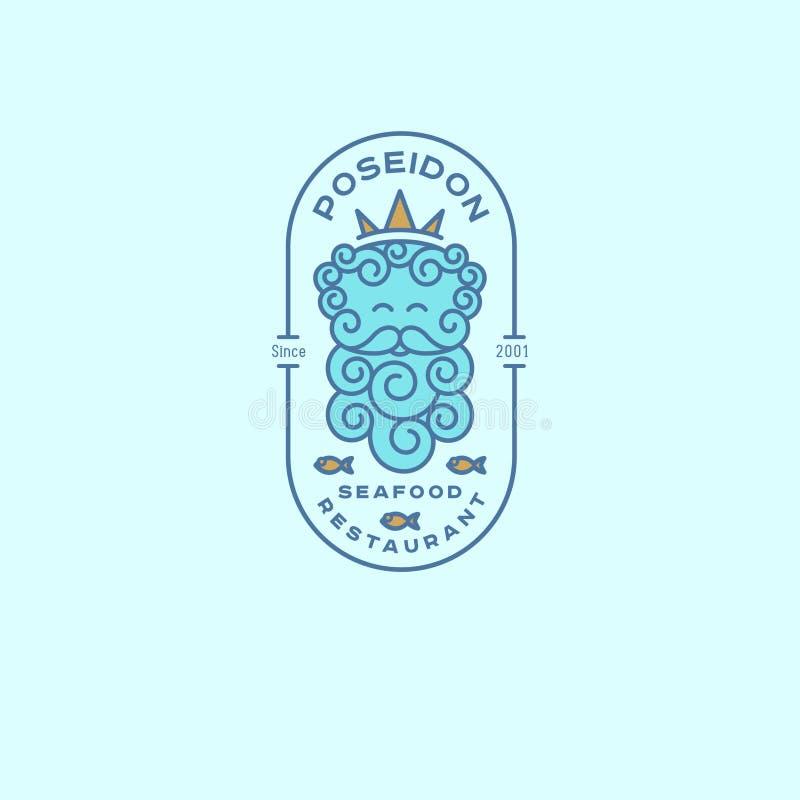 Poseidon logo Neptunlogo Havs- restaurangemblem Poseidon i kronan och fisken med bokstäver i det ovala emblemet royaltyfri illustrationer