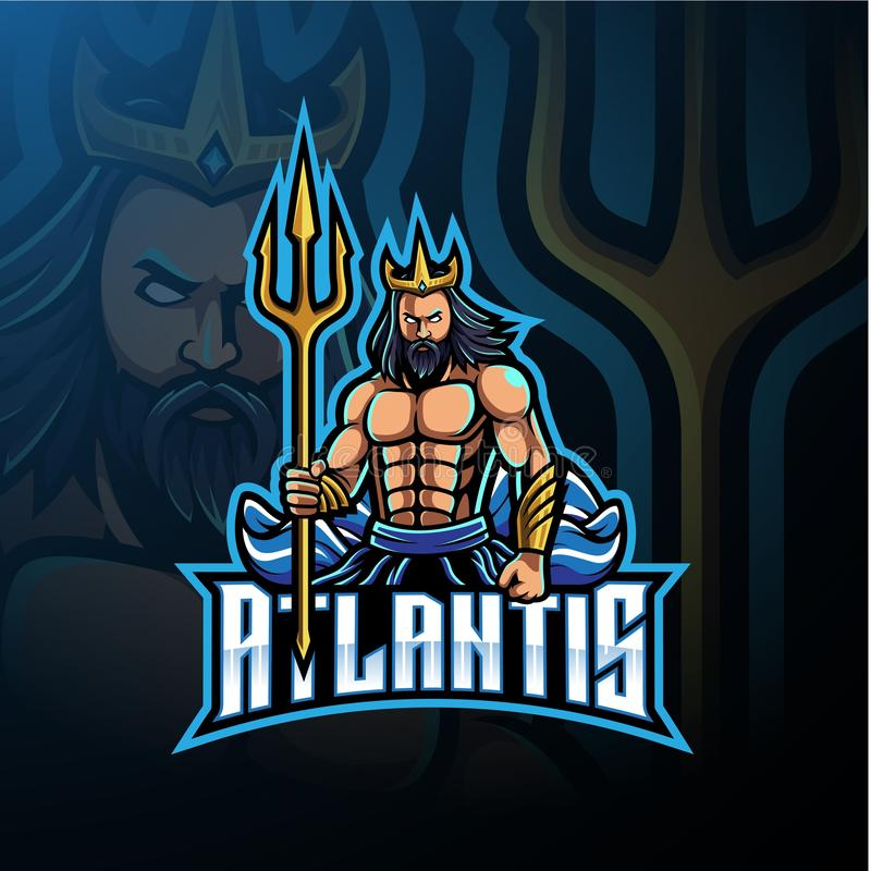Poseidon maskotki logo projekt z trójząb bronią royalty ilustracja
