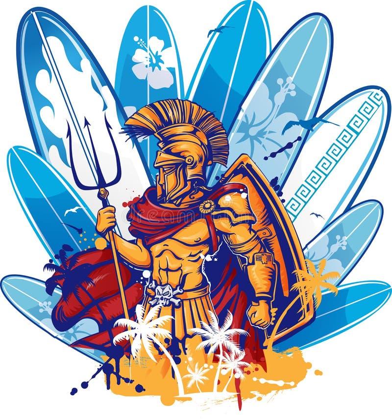 Poseidon nad surfboard elementami ilustracja wektor