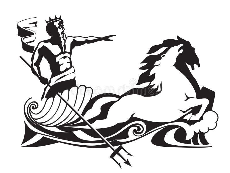Poseidon Neptuno con el tridente en el ejemplo del vector del carro libre illustration