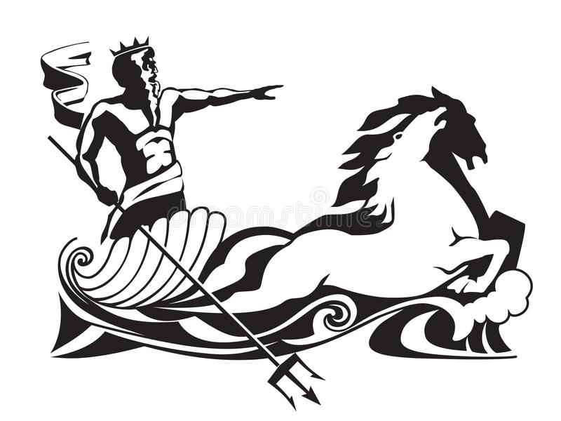 Poseidon nettuno con il tridente sull'illustrazione di vettore della biga fotografia stock libera da diritti