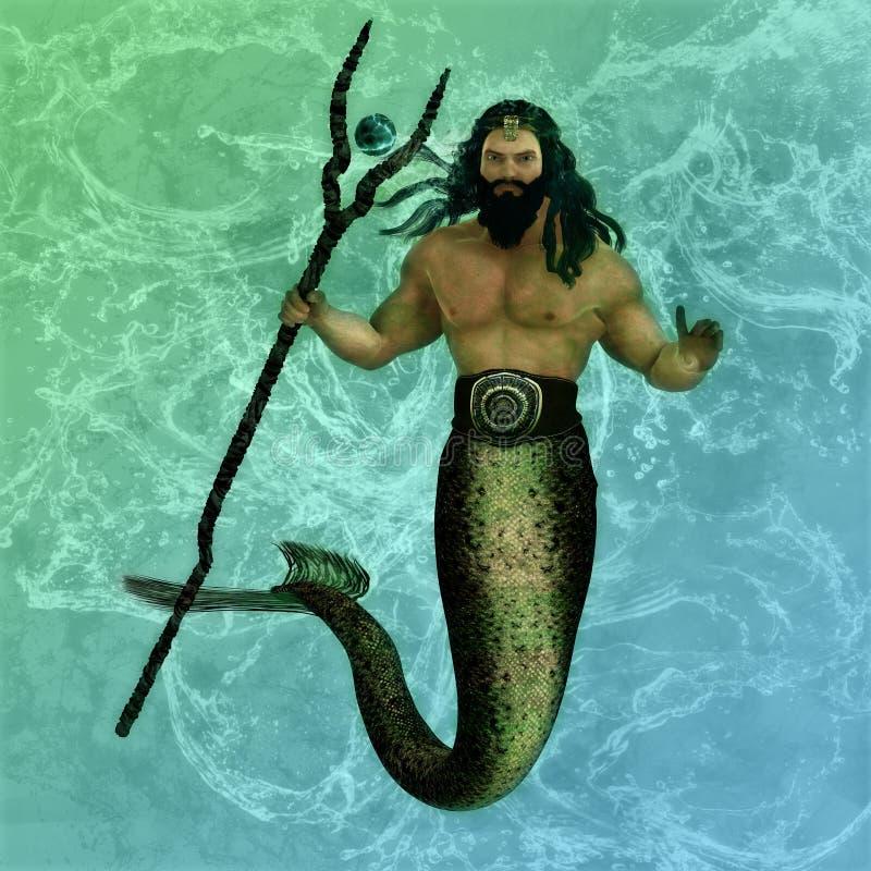Poseidon o deus do mar ilustração stock