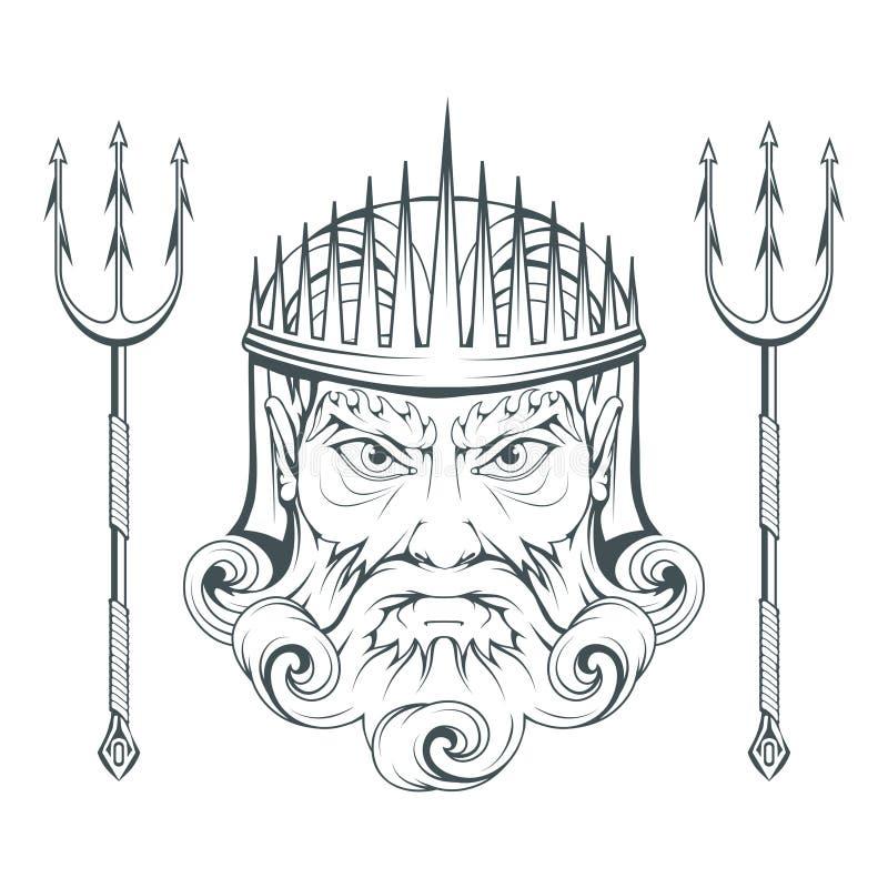 Poseidon - Oude Griekse opperste overzeese god Griekse mythologie De drietand van Neptunus Olympian godeninzameling Hand getrokke vector illustratie