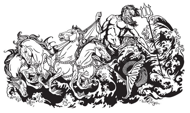 Poseidon que conduce el hippocamp stock de ilustración