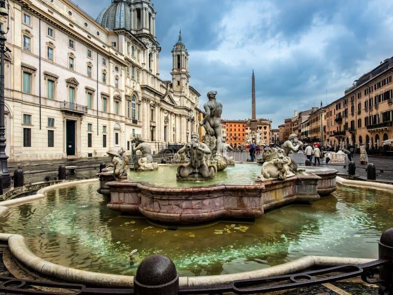 Poseidon springbrunn, Navona fyrkant Rome royaltyfria bilder