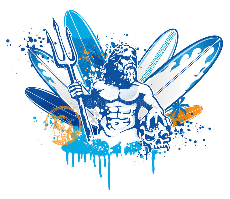Poseidon surfer royalty-vrije illustratie