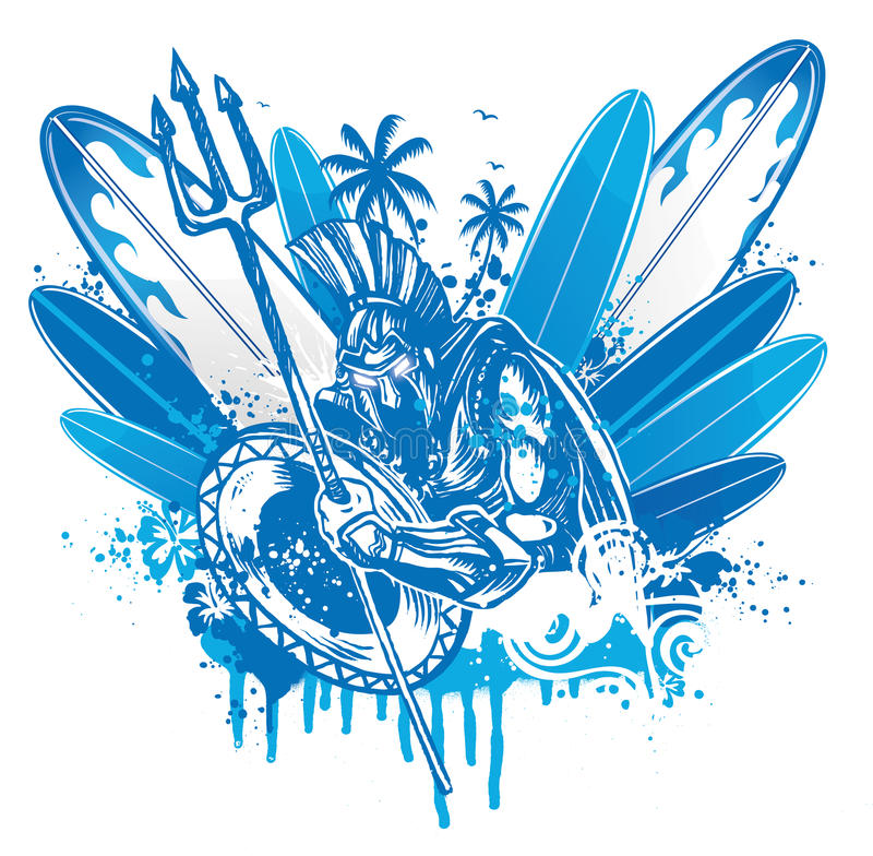 Poseidon surfer vector illustration