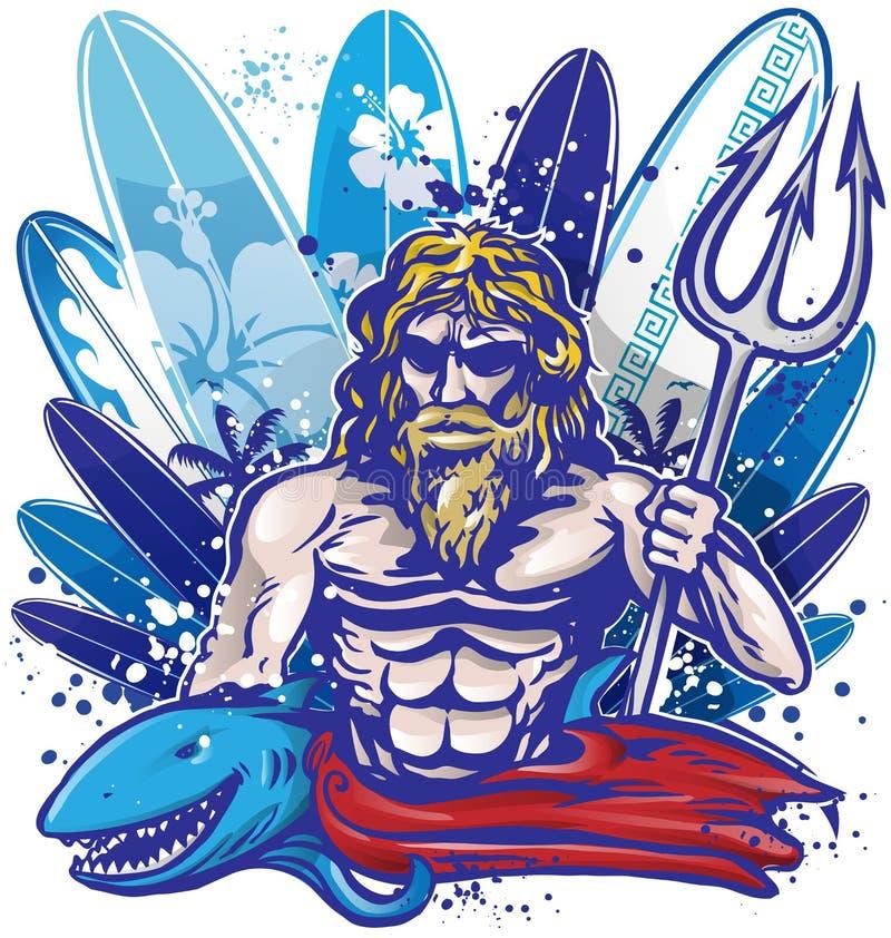 Poseidon surfingowiec royalty ilustracja
