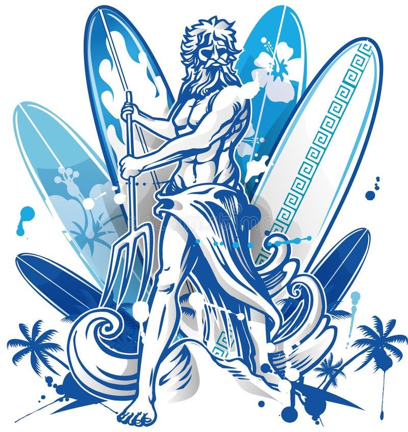 Poseidon surfingowiec na surfboard tle royalty ilustracja