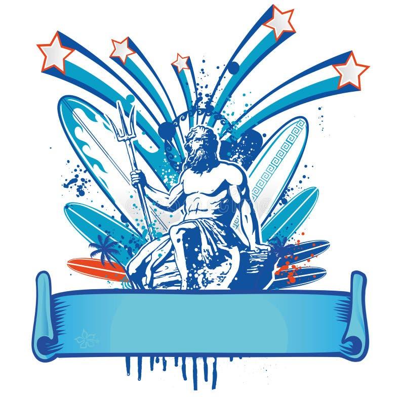 Poseidon surfingowiec z sztandarem ilustracji