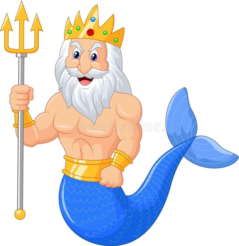 Poseidon tecknad film stock illustrationer