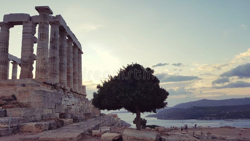 Poseidon tempel i udde Sounion fotografering för bildbyråer