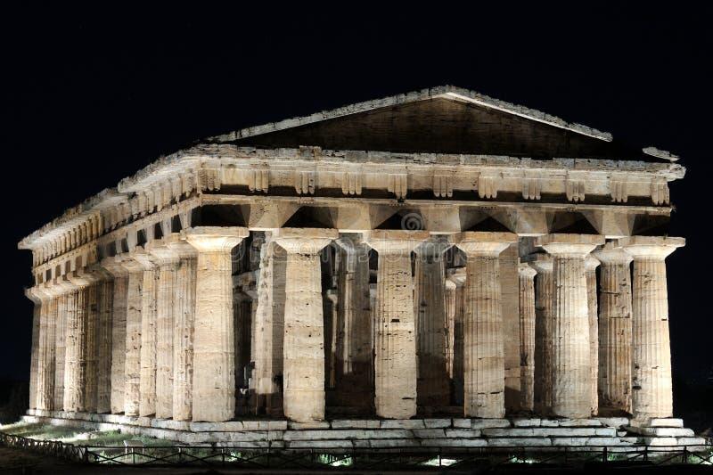 Poseidon tempel, Paestum royaltyfria foton