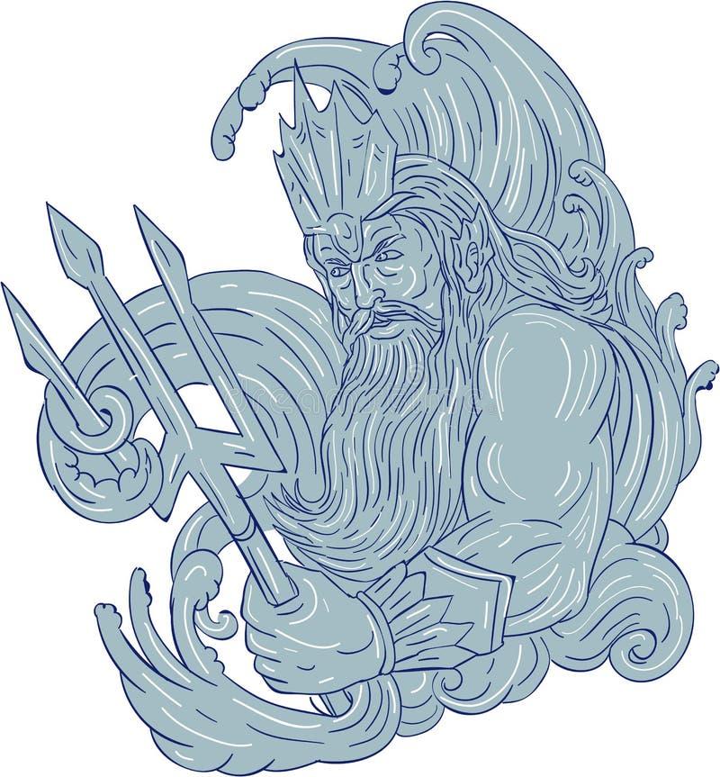 Poseidon Trident acena o desenho ilustração royalty free
