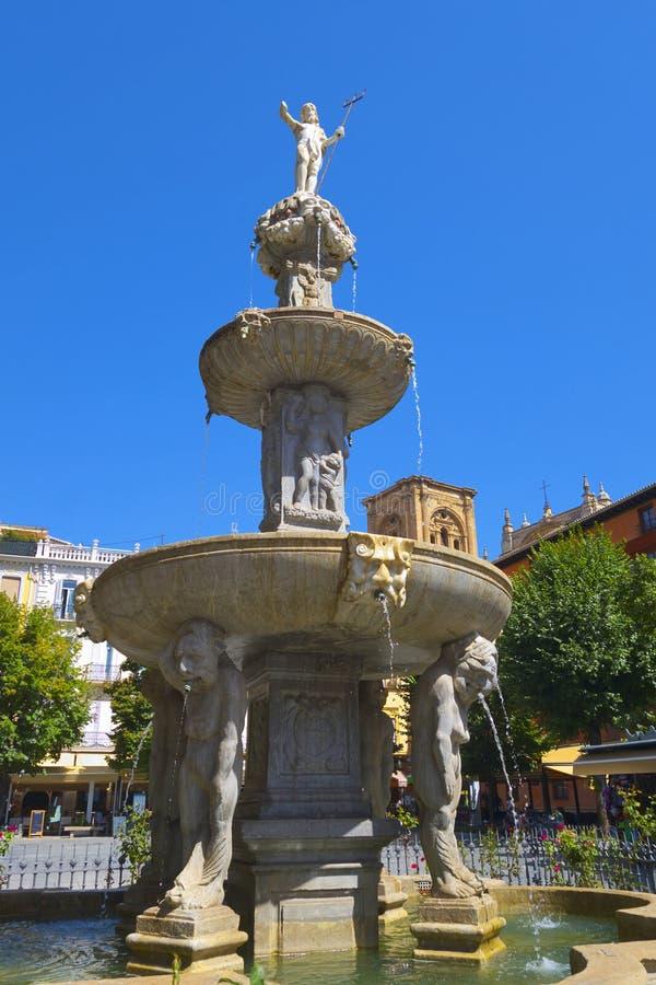Poseidonfontein in Granada royalty-vrije stock afbeelding