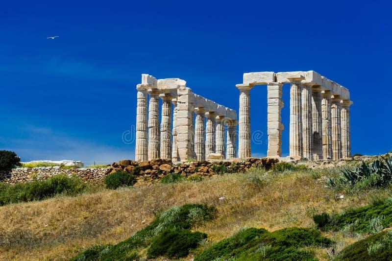 Poseidontempel bij Kaap Sounion in Griekenland stock foto