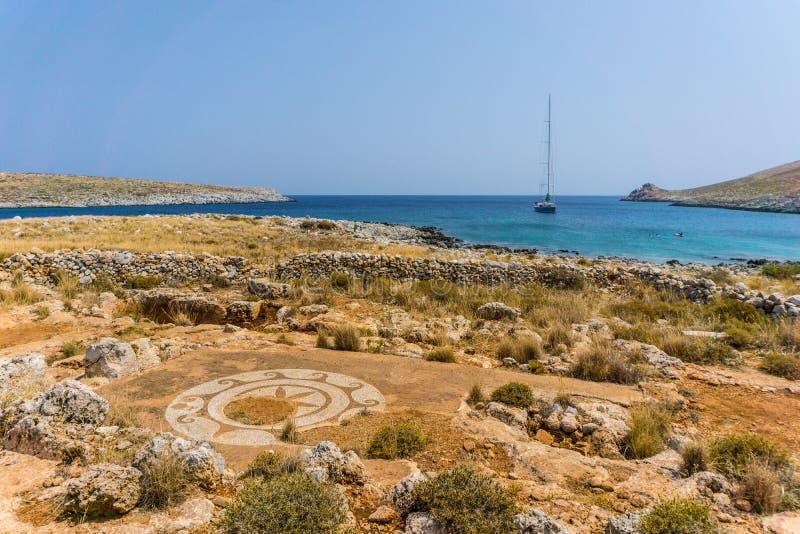 Poseidontempel bij kaap Tenaro in Mani Greece, het meest zuidelijke punt van vasteland Griekenland royalty-vrije stock fotografie