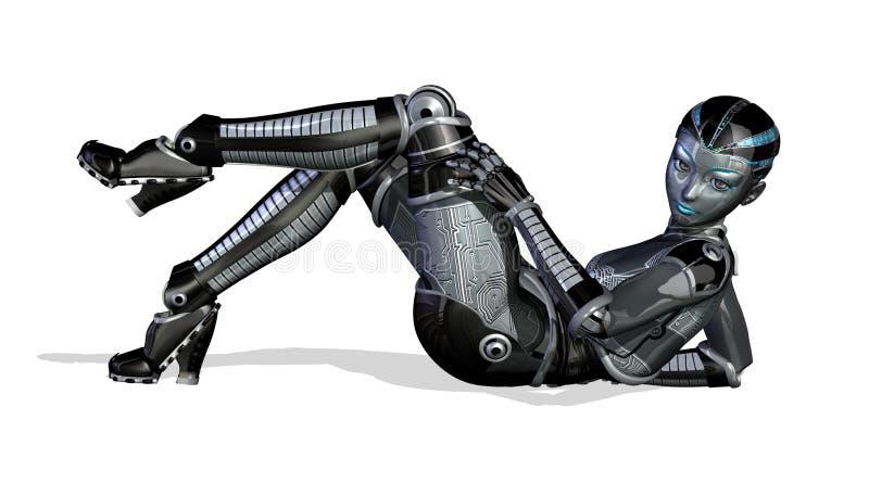 posera den sexiga reclining roboten vektor illustrationer