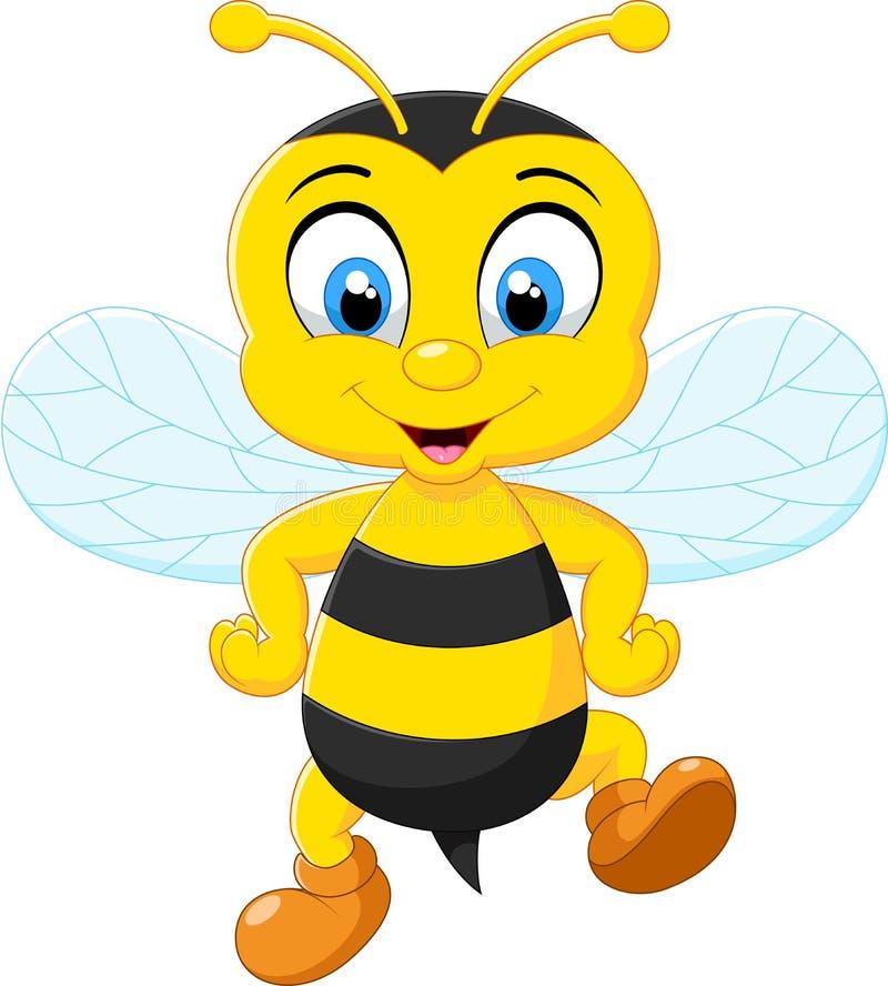 Posera för bin för tecknad film förtjusande stock illustrationer