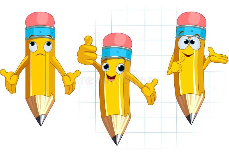 posera för blyertspenna för teckenuttryck ansikts- vektor illustrationer