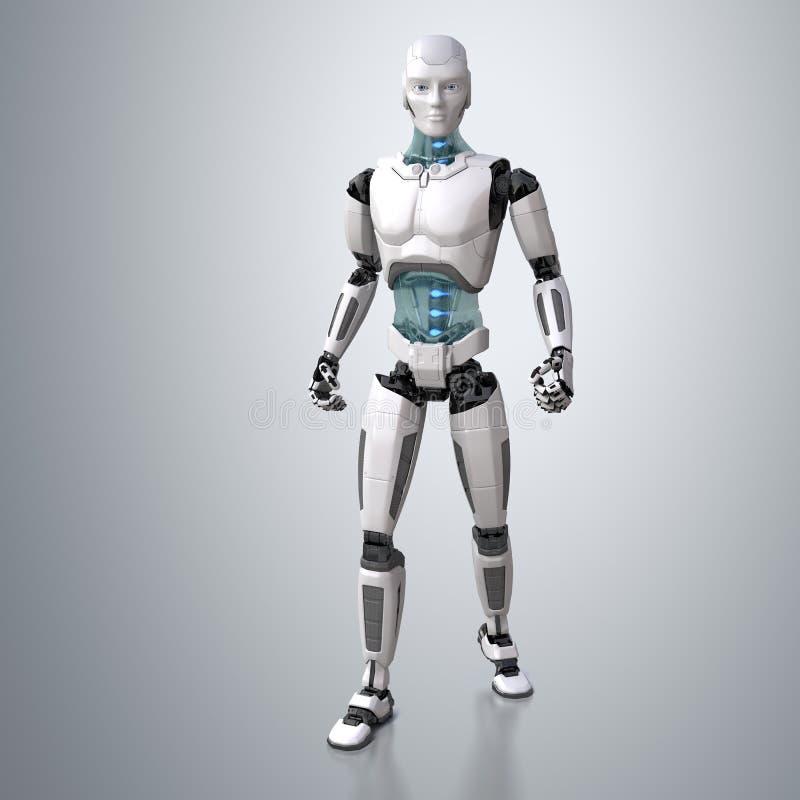 Posera för robotandroid stock illustrationer