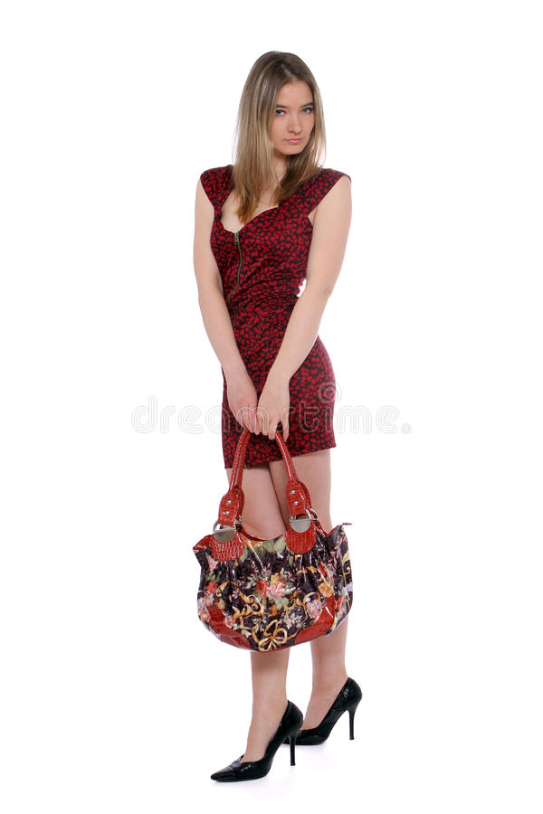 posera handväskakvinna för blomma royaltyfria foton