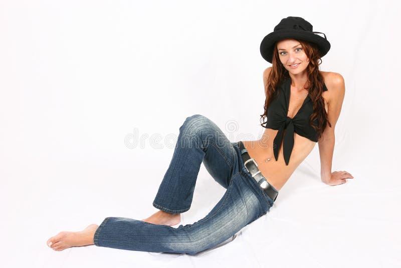 posera kvinna arkivbild