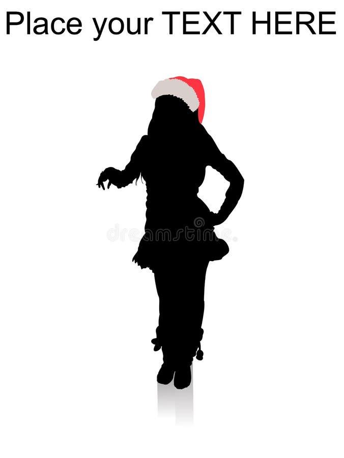 posera kvinna för julhatt vektor illustrationer
