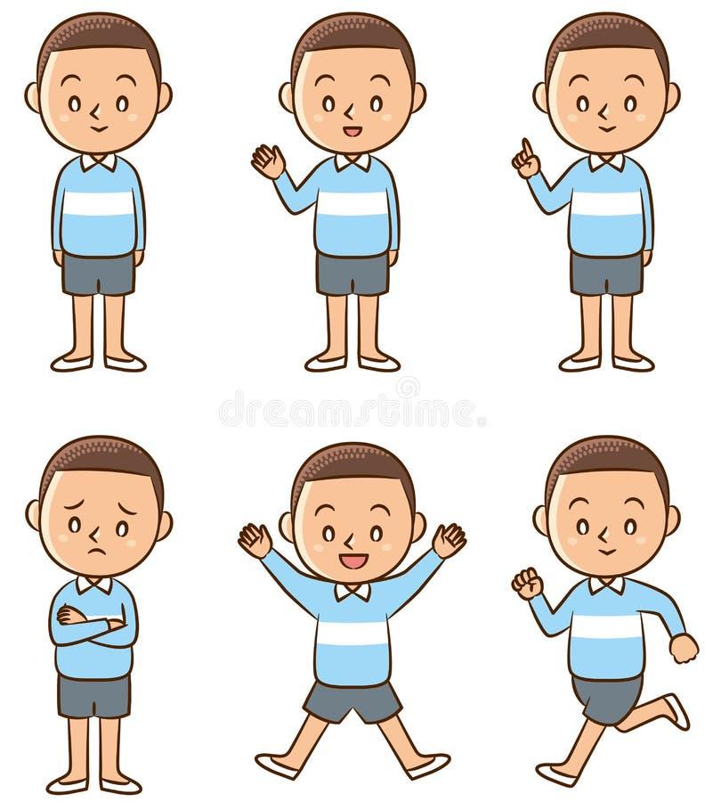 Poserar av pojke vektor illustrationer