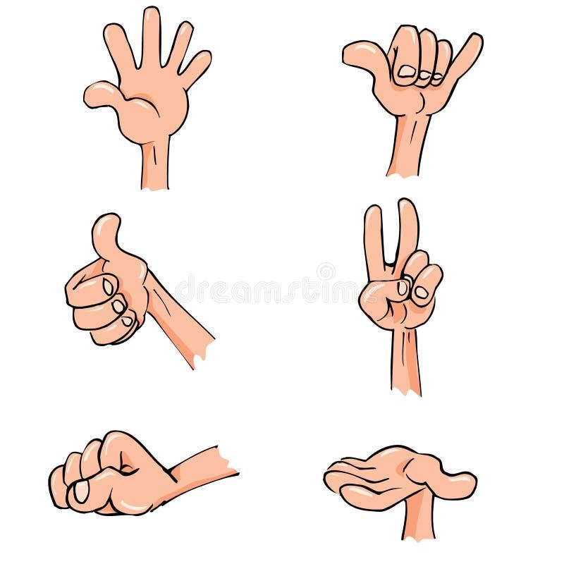 poserar dagliga händer för tecknad film seten royaltyfri illustrationer