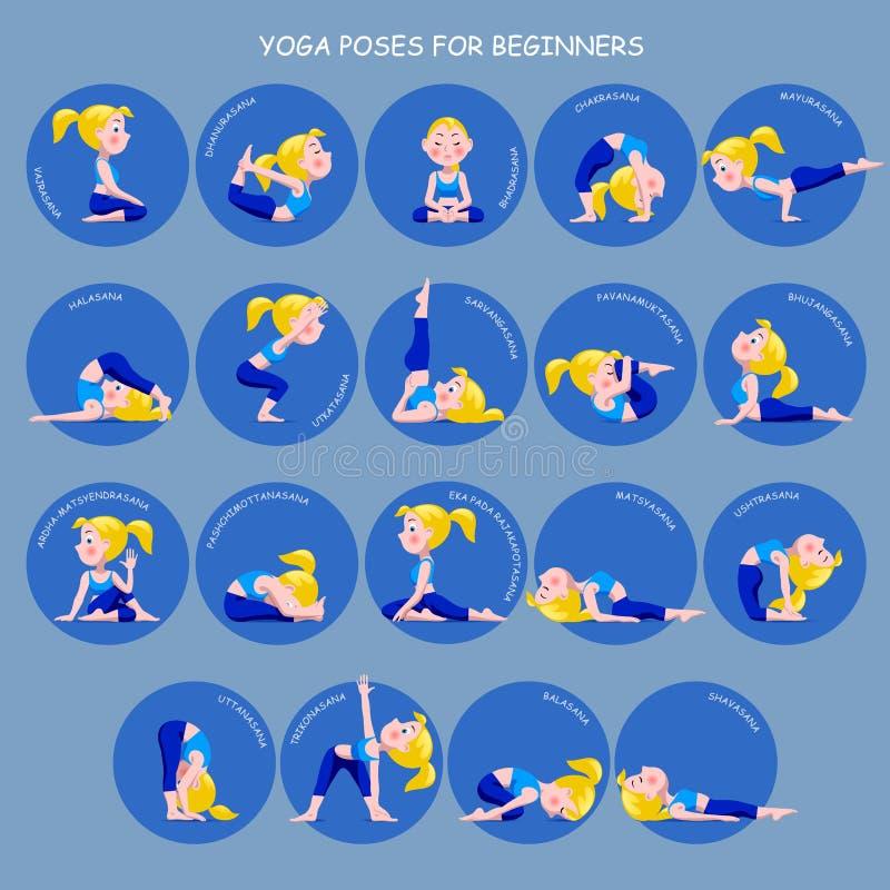 Poserar den blonda flickan för tecknade filmen i yoga med titlar för nybörjareisolator stock illustrationer