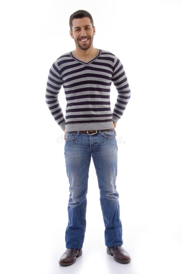 poserar den fulla manståenden för huvuddelen standing fotografering för bildbyråer