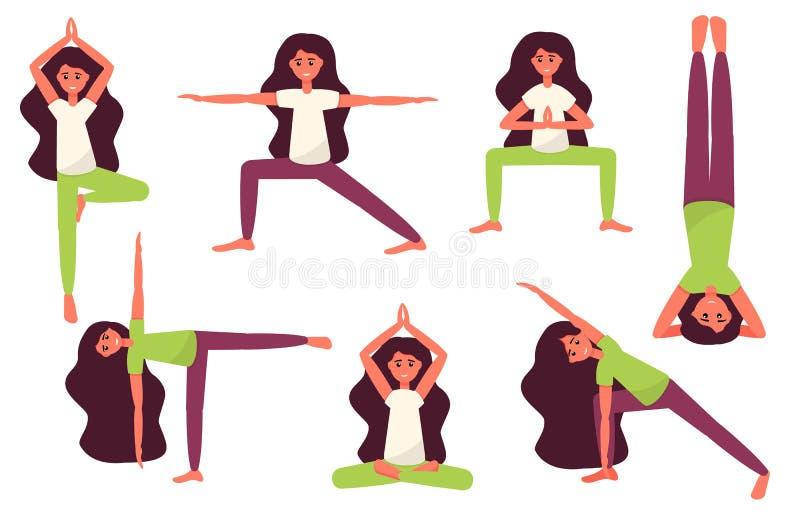Poserar den gulliga flickan för yoga Plan yoga poserar Namaste Yogavektorillustration vektor illustrationer