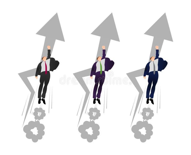 Poserar den plana affärsmannen för vektorn i en stålman av tryckvåg Mannen flyger för att gagna Skynda sig upp begreppet Flyga su royaltyfri illustrationer