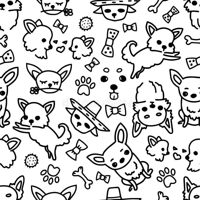 Poserar den sömlösa chihuahuamodellen för vektorn, hund, hundaveln Dragit av handillustrationer av hundkapplöpning och leksaker f royaltyfri illustrationer