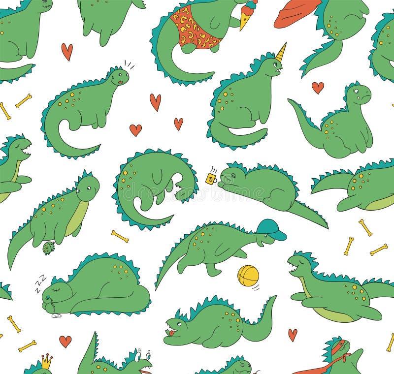 Poserar den sömlösa modellen för vektorn av roliga kulöra dinosaurier i olikt vektor illustrationer