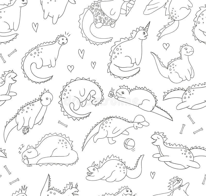 Poserar den sömlösa modellen för vektorn av roliga svartvita dinosaurier i olikt stock illustrationer