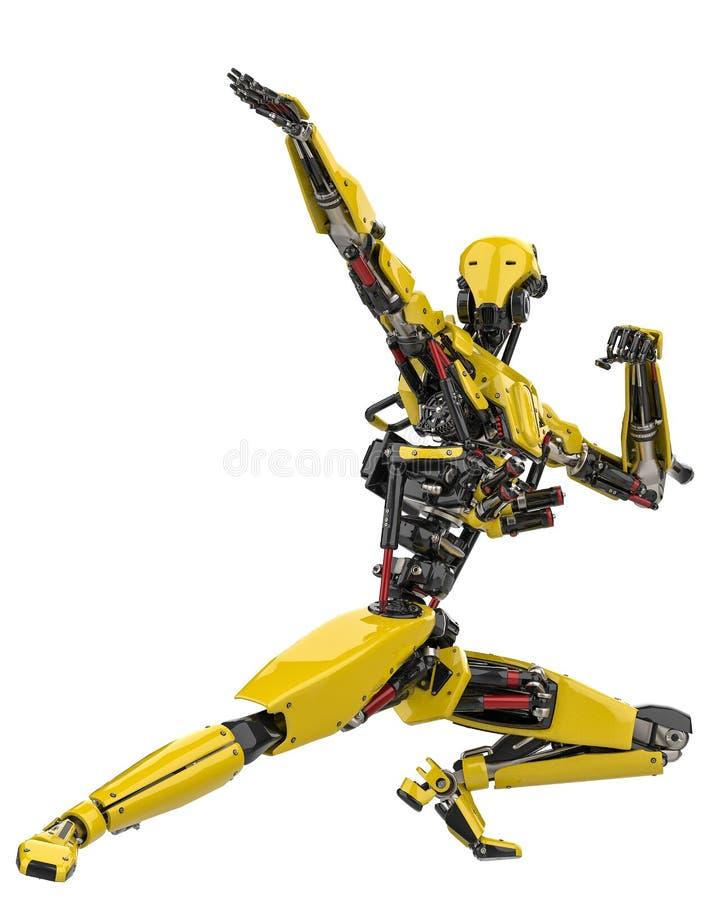 Poserar den toppna surrkämpen för den mega gula roboten 3 i en vit bakgrund stock illustrationer