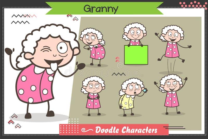 Poserar det roliga farmorteckenet för tecknade filmen många uttryck och vektoruppsättningen vektor illustrationer
