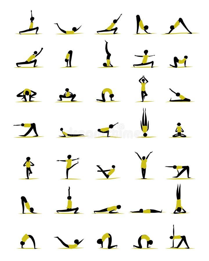 Poserar praktiserande yoga för folk, för din design stock illustrationer