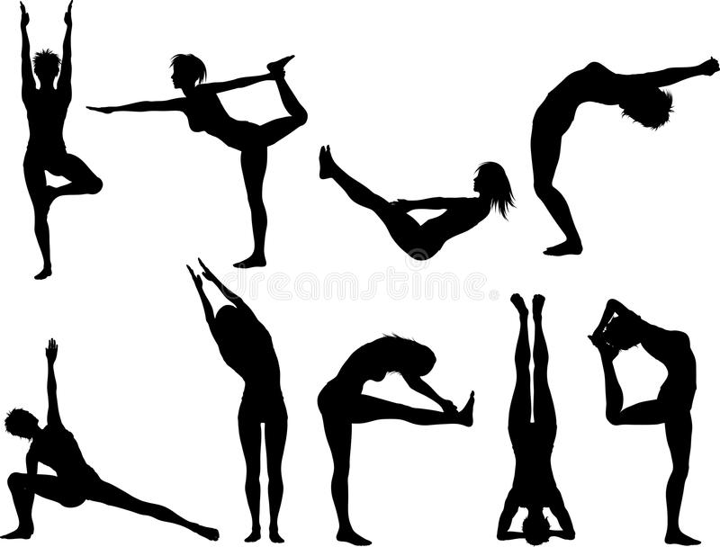 poserar yoga vektor illustrationer
