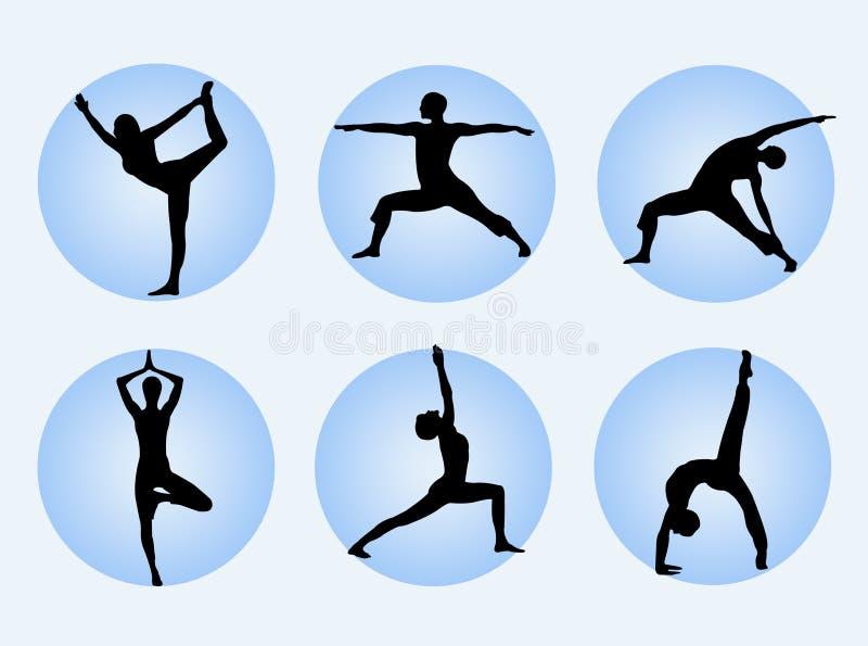 poserar yoga royaltyfri illustrationer
