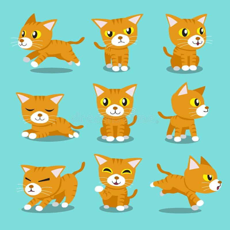 Poses alaranjadas do gato do personagem de banda desenhada ilustração do vetor