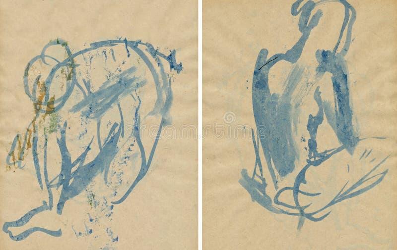 Poses azuis da mulher ilustração do vetor