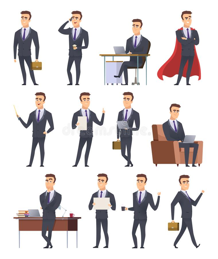 Poses business characters. Professionals male managers working sitting holding business items peoples action pose vector stock illustration